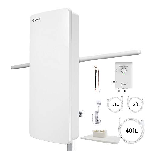 Antop at-800SBS HDTV&Fm Amplified Antenna with Noise-Free 4G LTE Filter & Smart Boost System for Dual Connectivity, Support TV and A Second Device(Tv, FM or OTA-Ready Streaming Device or Projector)