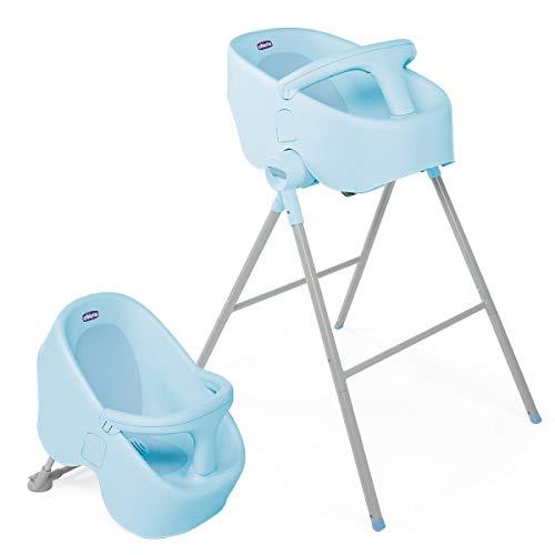 Chicco Bubble Nest Bañera transformable para ducha o baño, con patas extraibles y asiento antideslizante, color azul (Ocean)