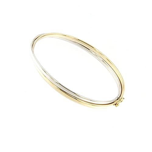 Lucchetta Damen - Armreif Weißgold und Gelbgold 9Karat (375) Bicolor GoldArmband 4.22gr 19cm