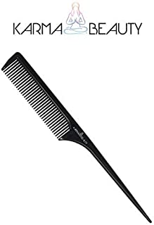 Tail Comb | Fine Tooth Hair Comb | Thin and Long Handle | Teasing Comb | For All Hair Type | Karma Beauty | (Black) [並行輸入品]
