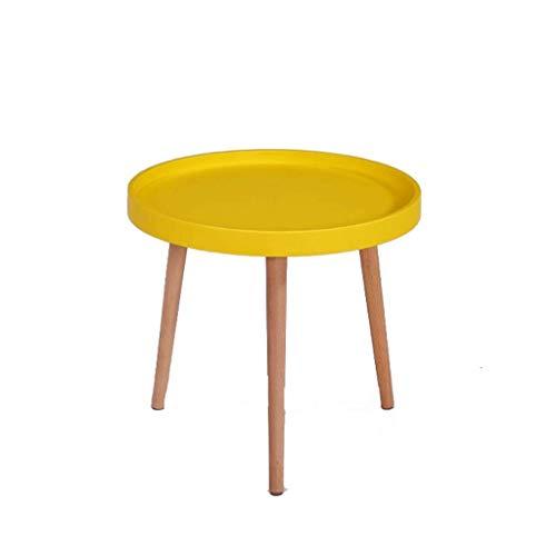 Table Ronde Table Basse Jouet Table d'enfant Salon Table d'appoint Chambre Basse Chevet, Table de Travail en Bois Massif Multicolore (Couleur : Le Jaune)