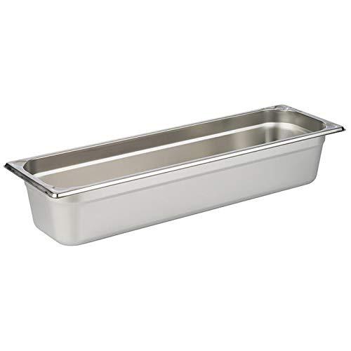 APS 81804 GN 2/4 Behälter, rostfreier Gastronormbehälter Edelstahl, Abmessungen 165 x 530 mm/Höhe 100 mm/Volumen 5,6 Liter