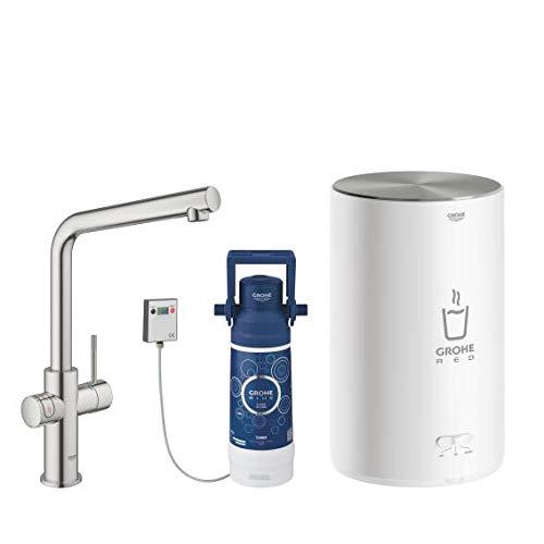 Grohe Red Duo - Grifo de cocina (caño en L) con sistema de filtro y calentador tamaño M, agua hirviendo al instante (30327DC1)