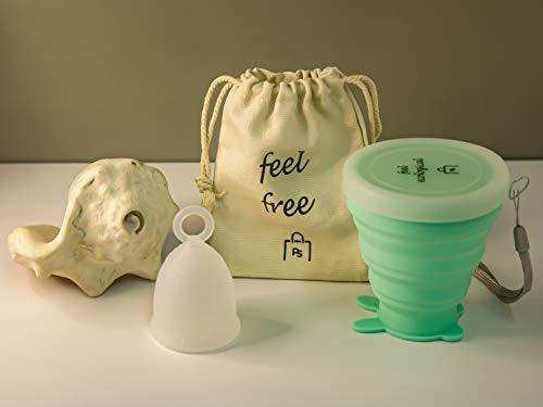 Povi Store Copa Menstrual en Talla S (15ml) Grado Médico + Esterilizador de Silicona Lavable + 1 Bolsa de tela