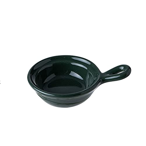 XIAOSAKU Household Ceramic Seasoning Dish With Handle Creative Milk Dish Personalized Dipping Dish Can Be Used for Yogurt Pudding Butter and Honey (Color : Dark green)