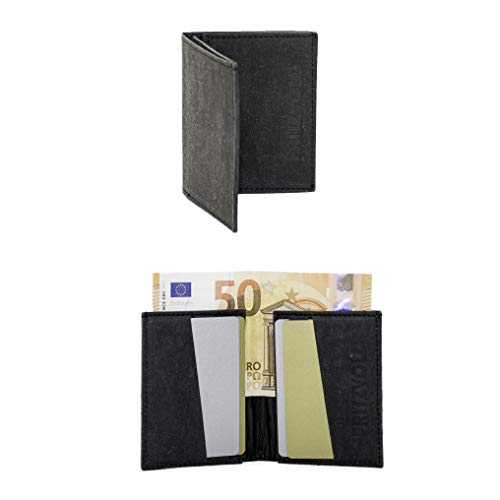 FRITZVOLD Tiny Wallet mit RFID-Schutz, extrem kleines, dünnes Portemonnaie für Herren & Damen, Slim Wallet, flaches Mini-Portmonee, minimalistischer Geldbeutel aus Papier-Kunstleder, schwarz