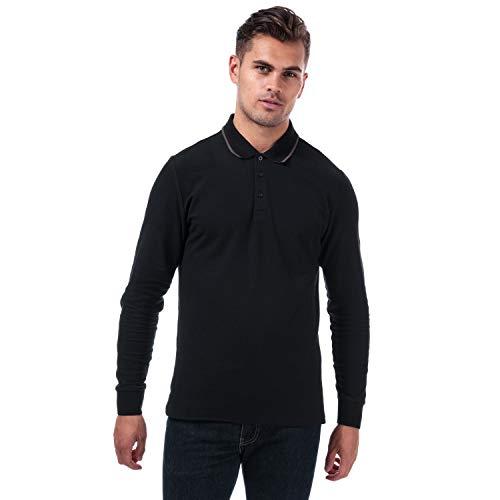 Mens Ben Sherman LS Pique Polo Shirt in Black