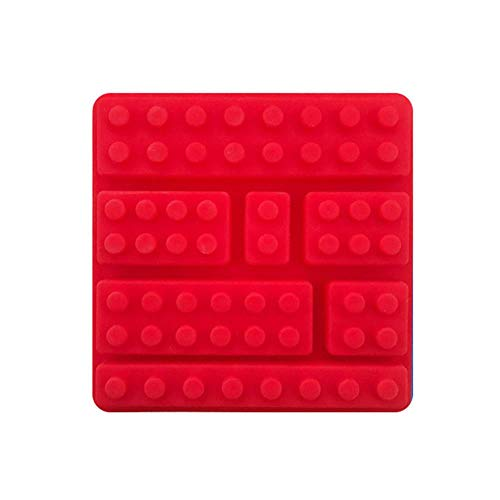 1 Piece Set 10 Hole Building Block Brick Silicone Mold Rectangular Fondant Cake Tool Silicone Chocolate Mould Ice Cube Tray Mold,Red,China