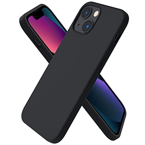 ORNARTO Funda Silicone Case Compatible con iPhone 13 Mini,  Protección de Cuerpo Completo, Carcasa de Silicona Líquida Suave Antichoque Case para iPhone 13 Mini (2021) 5, 4- Negro