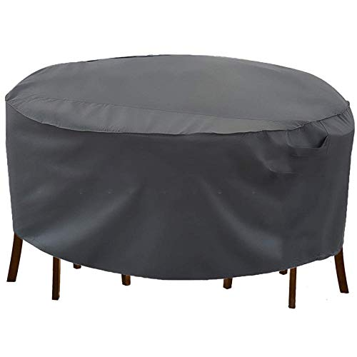 Waterproof Windproof & Anti-UV Patio Table Cover ,Outdoor dust-proof and dust-proof furniture cover rain-proof shade round table and chair cover balcony courtyard round table cover-black_239x58cm
