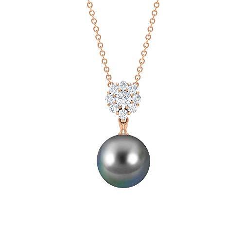Solitaire - Collar de perlas de Tahití de 7,82 quilates, colgantes de diamante de 10 mm, collares de flores de diamante en forma redonda negro