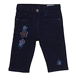 Tales & Stories Girls Dark Blue Embroidered Cotton Blend Capri