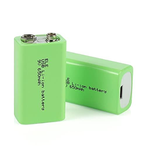 hsvgjsfa BateríAs De Iones De Litio De 9v 650mah, Batería Recargable Micro USB Adecuada para MicróFono Modelo De HelicóPtero RC 4PCS