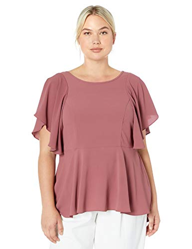City Chic Women's Apparel Women's Plus Size Floaty Sleeved top with Fitted Waist, Paprika, M