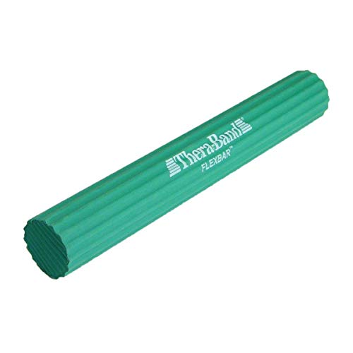 TheraBand FlexBar, Tennis Elbow Therapy Bar, Relieve Tendonitis Pain & Improve Grip Strength, Resistance Bar for Golfers Elbow & Tendinitis, Green, Medium, Intermediate