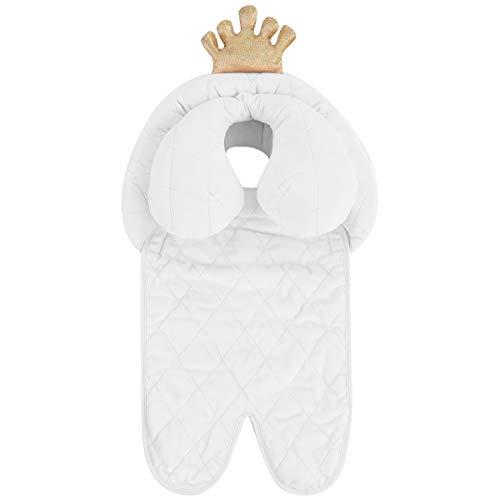 Petyoung Soporte para La Cabeza Y El Cuello del Bebé Cojín de Algodón Suave para Cochecito de Princesa Real Blanca para Bebés Recién Nacidos