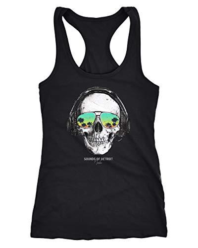 Neverless® Damen Tank-Top Totenkopf Skull Sonnenbrille Schädel Sounds of Detroit Music Racerback schwarz M
