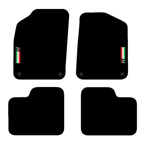 Carsio Tapis de Voiture sur Mesure pour Fiat 500 à partir de 2012, 4 Clips, Noir