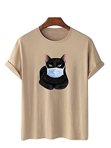 Streetwear Hombres Manga Corta Verano Cuello Redondo Personalidad Imprimir Hombres T-Shirt Básica Transpirable Suelta Hombres Shirt Ocio Diseño Moda Tendencia Hombres Shirt E-Khaki 4XL