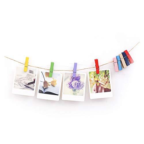 Xiao Jian- Photo Folder fotolijst fotolijst Mini-foto Kleine Houten Clip DIY Ophangende Familie Fotowand Galerij Set Hennep Touw Clip Handgemaakte Decoratie Fotowand