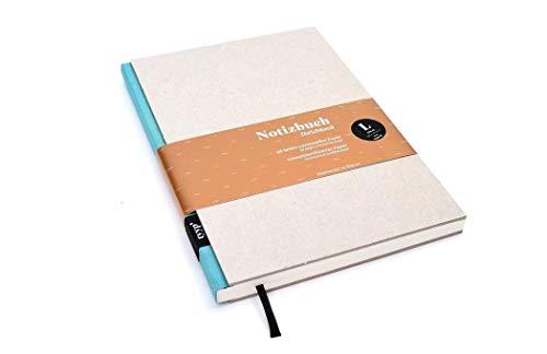 Notizbuch A5 hardcover | handmade in Germany | Skizzenbuch A5 blanko | Journal A5 | Türkis tyyp | nachhaltige Notizbücher | Öko-look Natur-Design
