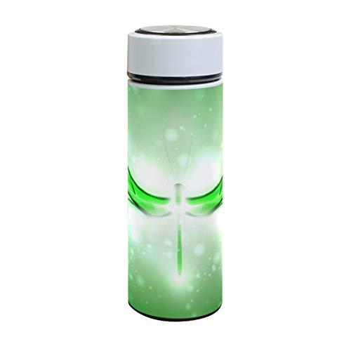 Emoya Botella de agua de acero inoxidable de 500 ml, botella de agua aislada al vacío con diseño de libélula verde, sin BPA, a prueba de fugas, doble pared, boca ancha para bebidas frías y calientes, 17 onzas