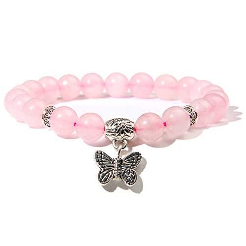 ZMMZYY Bracelet en Pierre,Pierre Naturelle Quartz Rose Bracelet avec Pendentif Papillon Femmes Bracelet Stone Beads Charms la méditation des Bijoux,Fd0803,21cm