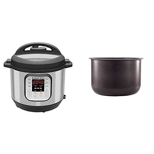 Instant Pot Duo 7-in-1 Electric Pressure Cooker, Sterilizer, Slow Cooker, Rice Cooker, Steamer, Saute, Yogurt Maker, and Warmer, 6 Quart, 14 One-Touch Programs & 6 Quart Ceramic Cooking Pot