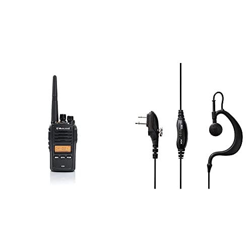 Midland G18 Radio Ricetrasmittente Walkie Talkie 1 Ricetrasmettitore Semi Professionale, Pacco Batteria Ricaricabile Li-Ion (1600 Mah), Caricabatterie Da Tavolo & C1130 Microfono Auricolare