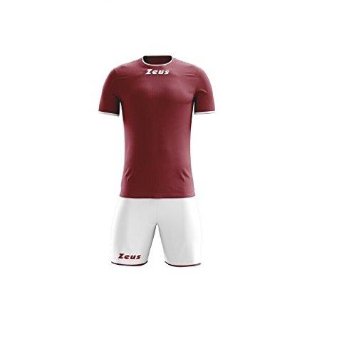 Zeus Kit Sticker Granata - Bianco Completo Calcio Calcetto Muta Torneo Scuola Sport