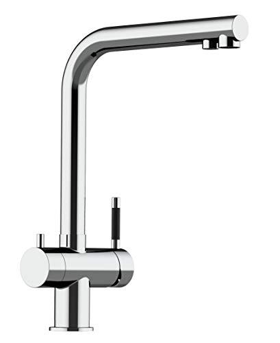 Rubinetto Cucina 3 vie 100% ACCIAIO INOX per utilizzo con sistemi filtro/depuratore con canale dedicato per acqua depurata/filtrata - FINITURA ACCIAIO LUCIDO