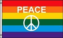 Regenbogen-Fahne mit Peace-Zeichen 60x90 cm von AZ Flag