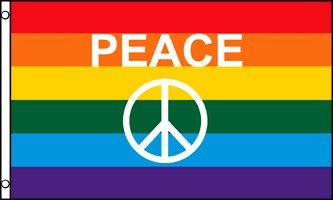 AZ FLAG Flagge Regenbogen Symbol Frieden 90x60cm - Peace Fahne 60 x 90 cm - flaggen Top Qualität