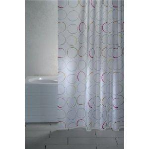 wohnideenshop Duschvorhang Circle weiß Kreise Textil 240cm breit x 200cm lang inkl. Ringe