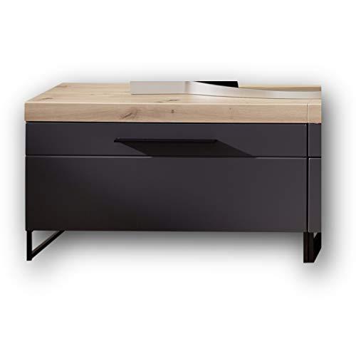 Stella Trading LOFT-TWO TV-Board (Unterteil) in Artisan-Eiche Optik, graphit - Hochwertiges Low-Board für Ihr Wohnzimmer - 96 x 55 x 44 cm (B/H/T)