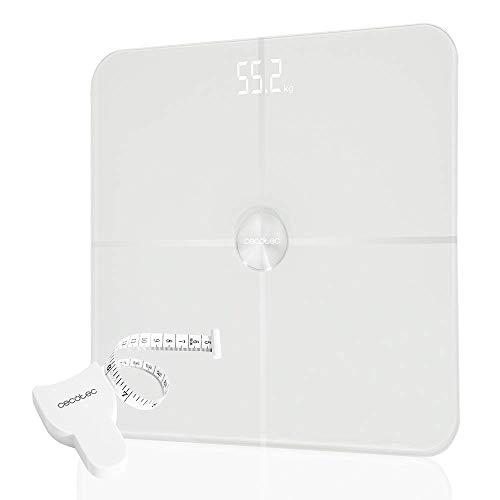 Cecotec Báscula Baño Digital Surface Precision 9600 Smart Healthy. Con Plataforma de Cristal Templado de alta Seguridad, Pantalla LED, Capacidad máxima de 180kg, Con Conectividad, Blanco.