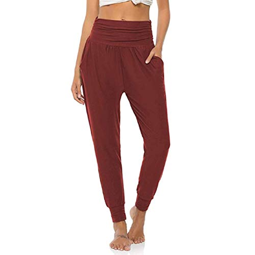 Aibrou Mujer Pantalones harén de chándal Pantalones Deportivos de Yoga Vino Tinto XL