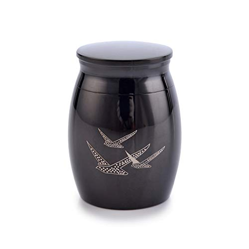 Sunling 1.57 Inch High Mini Peaceful Birds Engraved Stainless Steel Decorative Memorial Keepsake Cremation Urns Jar for Human Pet Ashes Funeral Bottle Holder