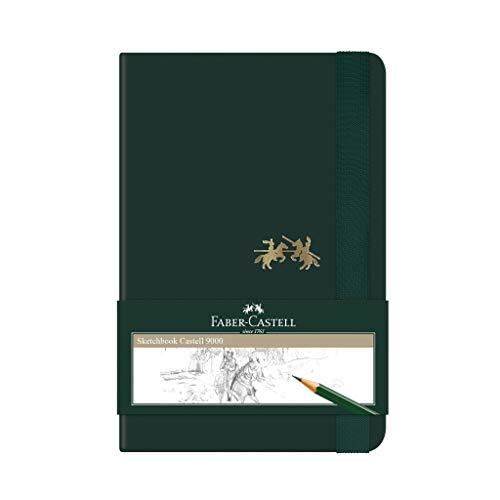 Caderno sem Pauta, Faber-Castell, CDNSKT/PQ, Sketchbook Castell 9000, 13.7x9.2cm, Verde, 80 Folhas