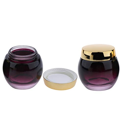 Milageto 2 Uds 120g Tarro de Mascarilla de Vidrio Envases de Crema Cosmética Vacía Lata Botella de Muestra - Tapa dorada