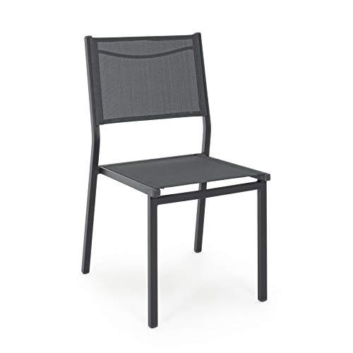 ARREDinITALY Lot de 6 chaises empilables pour étendoirs en Aluminium et textilène Anthracite