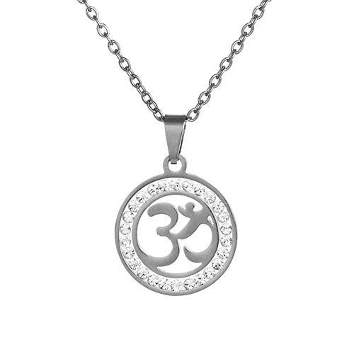 YUNGYE Acero Inoxidable budistas hindúes Colgante Collar de Oro/Colores Plata Suerte símbolo de Paz del hinduismo joyería (Color : 50CM, Size : Steel B)