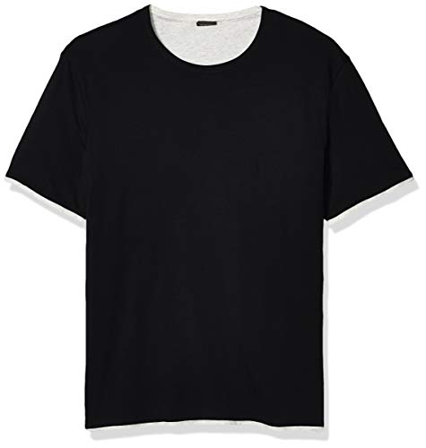John Varvatos Star USA Men's Rockford Short Sleeve Reversible Double Layer Cotton Crew, Black, XX-Large