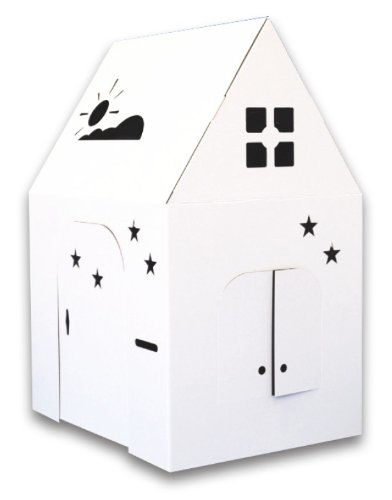 """Easy Playhouse - Kids Art & Craft for Indoor & Outdoor Fun, Color, Draw, Doodle on this Blank Canvas – Decorate & Personalize a Cardboard Fort, 34"""" X 27"""" X 48"""" - Made in USA, Age 2+"""