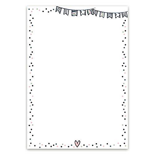 Briefpapier Set Konfetti I 50 Blatt Motiv-Papier in DIN A4 I als Einladung, zum Geburtstag, zur Baby-Party I für Mädchen Frauen I dv_425