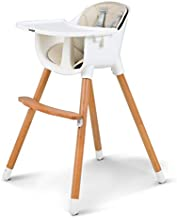 Uenjoy Baby High Chair for Infants & Toddlers with Soft Seat Cushion, Adjustable Five Point Seat Belt, Movable Tray and Adjustable Beech Legs/Footrest,Food Grade Material-White