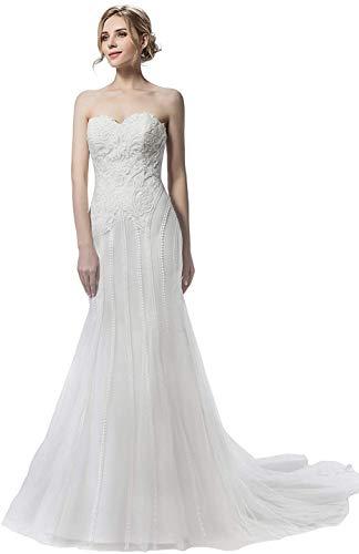 CGown Damen Sweetheart Ausschnitt Spitze Hochzeitskleider für Braut mit ärmellosem Zug Tüll Strand Brautkleid Gr. 34, elfenbeinfarben