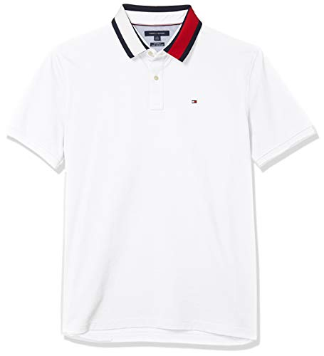 Tommy Hilfiger Men's Flag Pride Polo Shirt in Custom Fit, Tommy White Print, XXX-Large