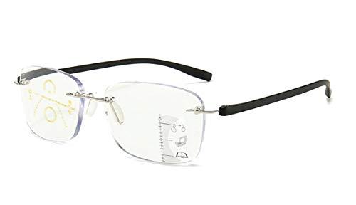 Gleitsichtbrille randos Lesebrille Metall schwarz Multifokale Gläser Damen Herren mit +1.50 Dioptrien Gleitsichtlesebrille mit Brillentasche (+ 1.50 Dioptrien)