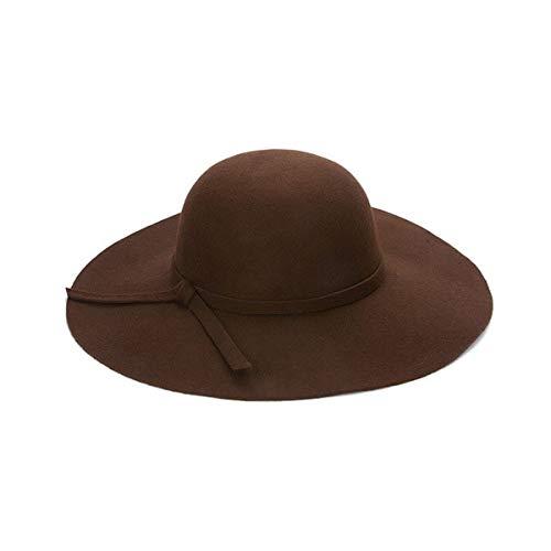 WAZHX Cappellino A Tesa Larga Cappelli A Cupola in Lana di Alta qualità Cappello A Cloche Nero da Donna 52-55 Cm caffè